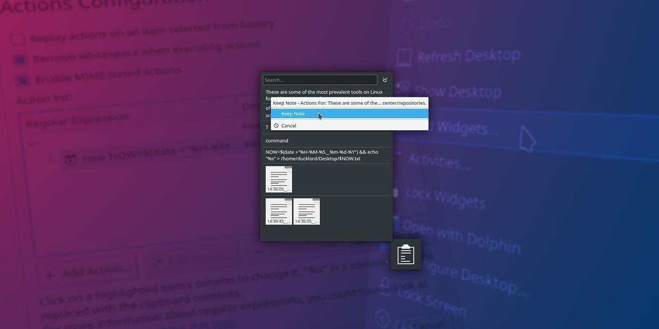 Cómo hacer una copia de seguridad del historial del portapapeles con el widget del portapapeles de KDE