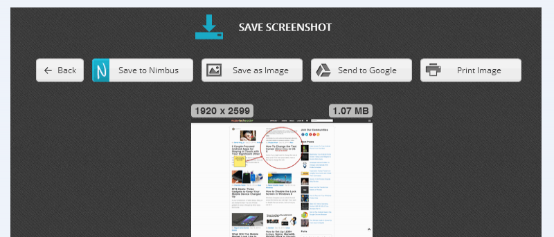 Tome capturas de pantalla de páginas web completas con Nimbus Screenshot
