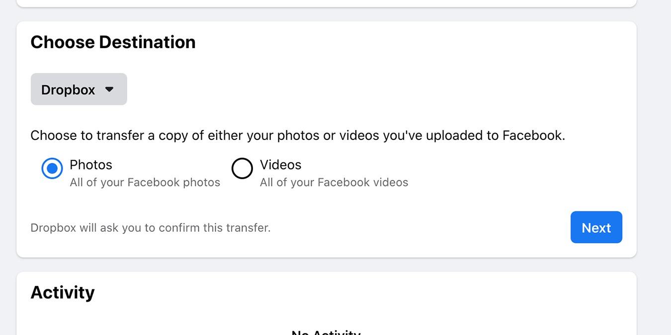 Cómo transferir las fotos de Facebook a Dropbox y Google Photos