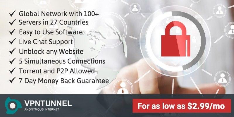 VPNTunnel protege su privacidad y le mantiene anónimo en la web