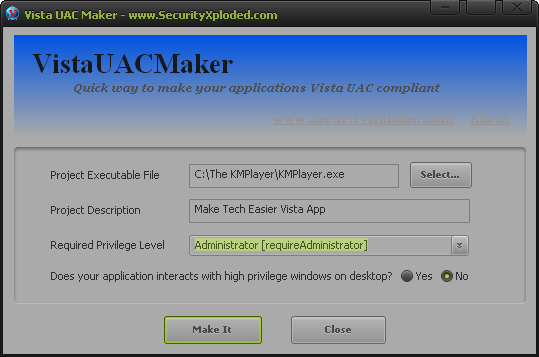 VistaUACMaker hace que sus aplicaciones de XP sean compatibles con Windows Vista y 7