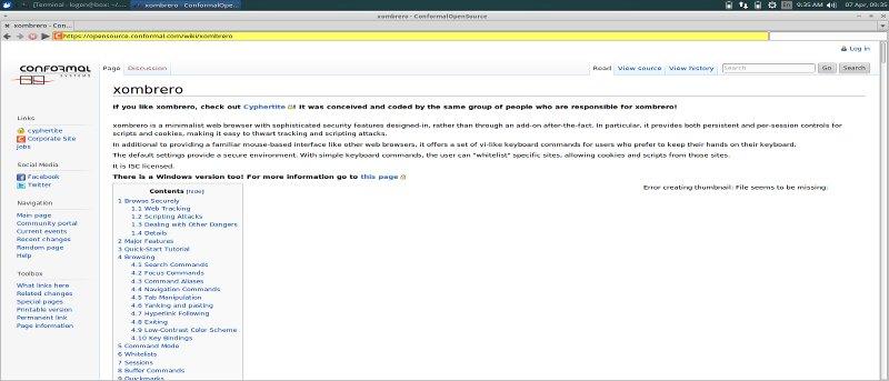 Xombrero: Un navegador minimalista centrado en la seguridad