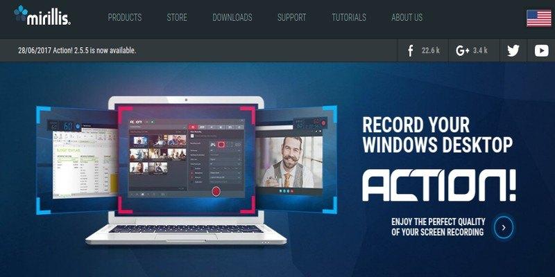¡Acción! Grabador de pantalla: Software todo en uno para Screencasting, grabación de juegos y transmisión en vivo en Windows