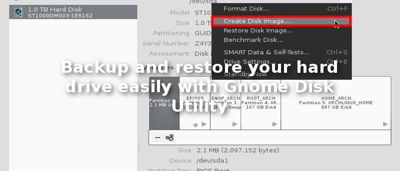 Haga una copia de seguridad y restaure su disco duro fácilmente con la Utilidad de Disco de Gnome