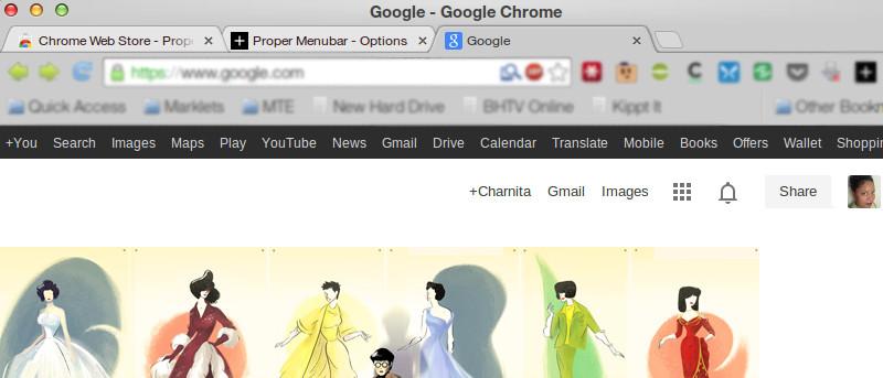 Recupera la barra de menús negra de Google con esta extensión de Chrome