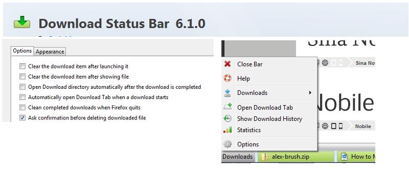 Gestionar las descargas de Firefox desde la barra de estado