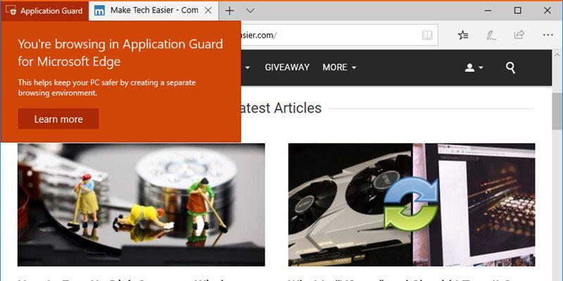 Cómo habilitar Microsoft Edge Application Guard en Windows 10