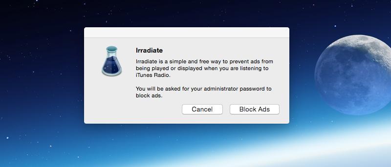 Irradiar - Bloquear los anuncios de radio de iTunes en Mac y iOS de forma gratuita