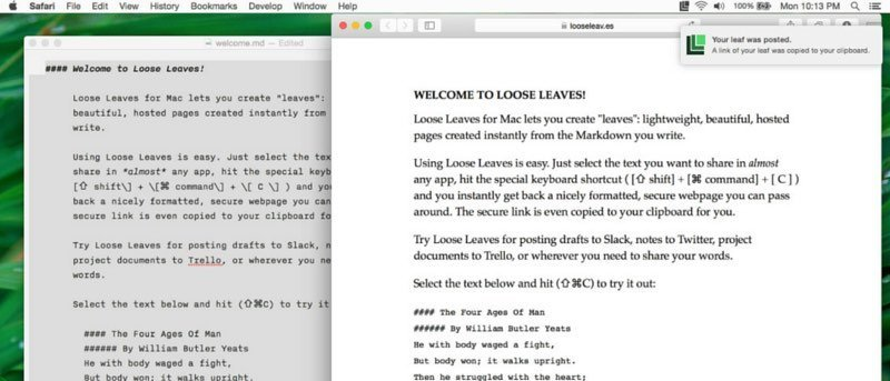 Loose Leaves para Mac le permite generar instantáneamente una página web a partir de texto Markdown