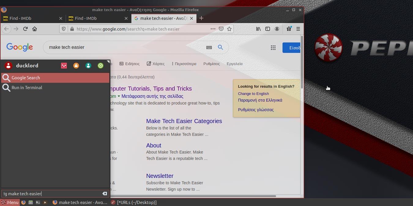 Cómo añadir la búsqueda de Google y otras acciones de búsqueda al menú principal de Peppermint