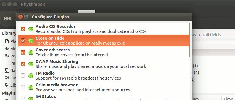 Salir de Rhythmbox al hacer clic en cerrar en Ubuntu