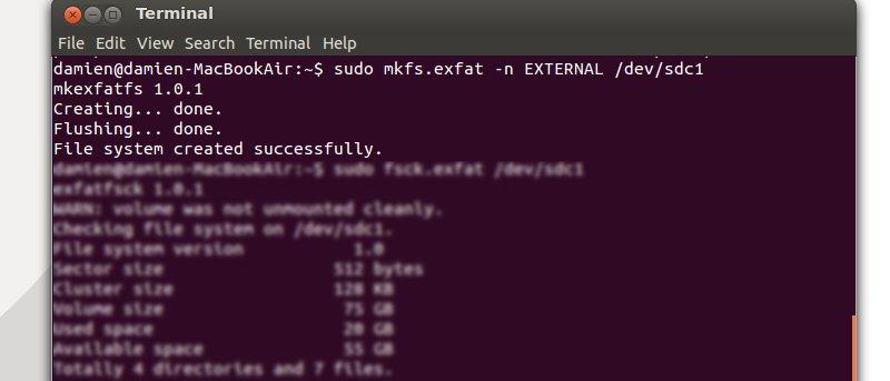 Cómo formatear un disco duro externo al sistema de archivos exFAT en Ubuntu