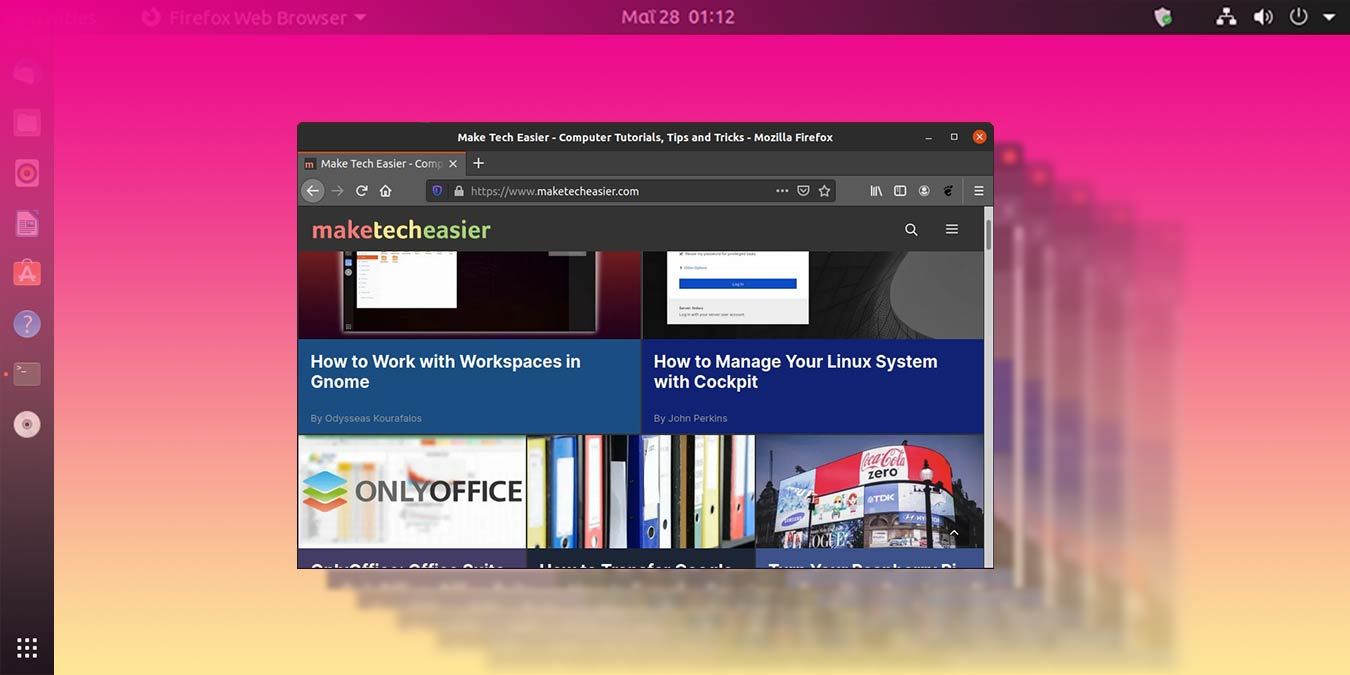 Cómo esconder la barra superior y el panel lateral en Ubuntu 20.04