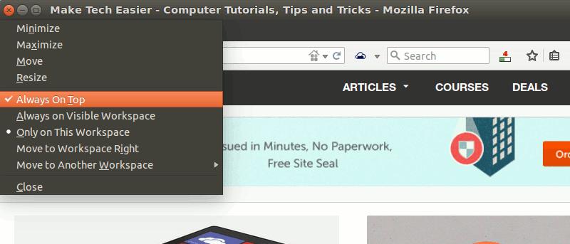 """Cómo establecer un atajo de teclado para """"Siempre arriba"""" en Ubuntu"""