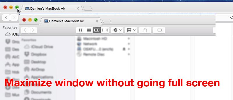 Maximizar Windows sin ir a pantalla completa en Mac Yosemite