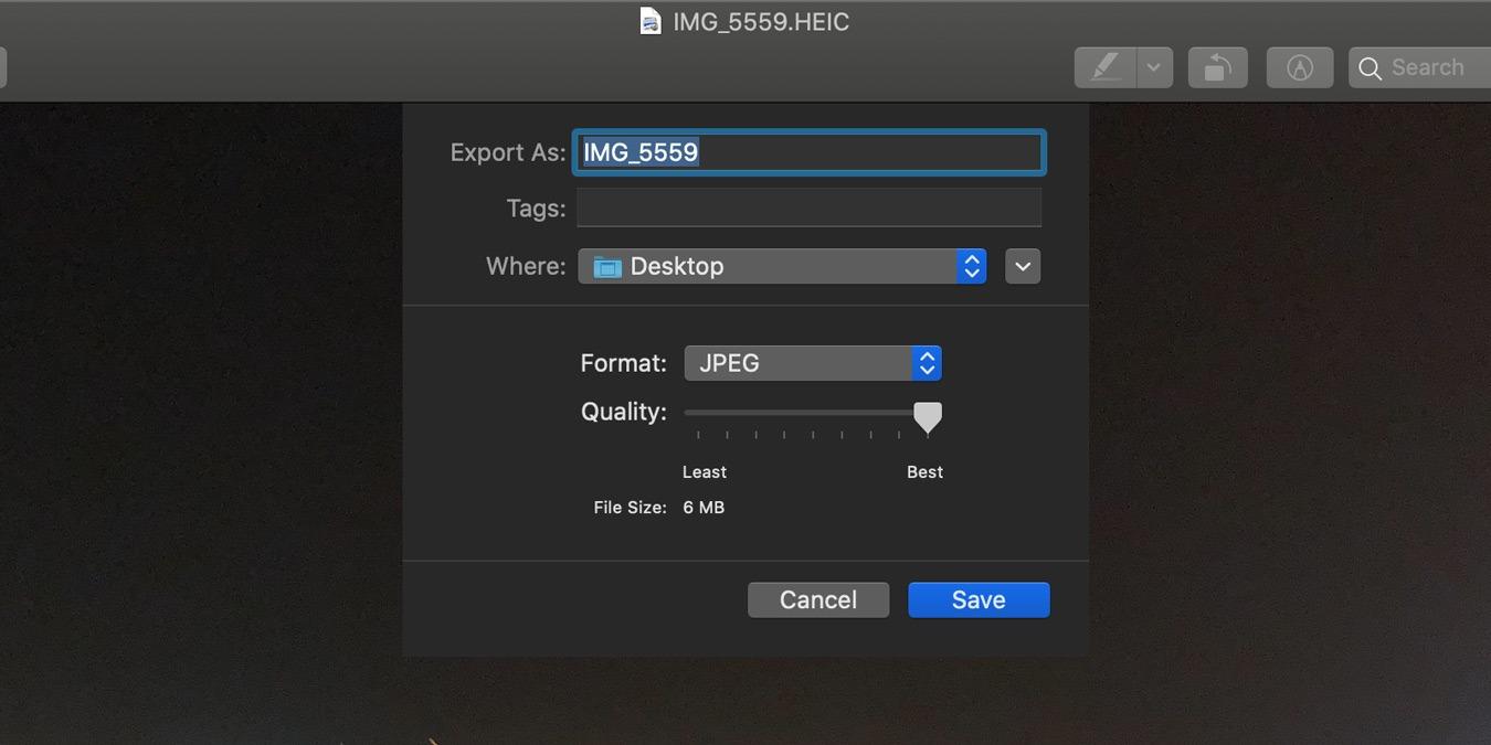 Cómo convertir archivos HEIC a JPG usando Vista previa en Mac