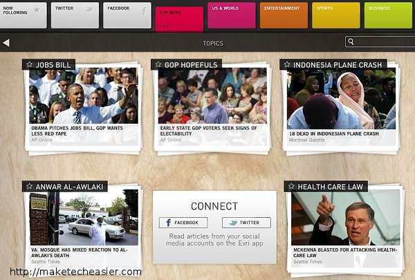Evri: una aplicación útil para News Junkies [iPad]