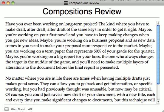 Composiciones: un editor de texto mínimo con funcionalidad de instantánea