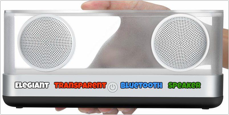 Elegante altavoz Bluetooth transparente con revisión súper baja