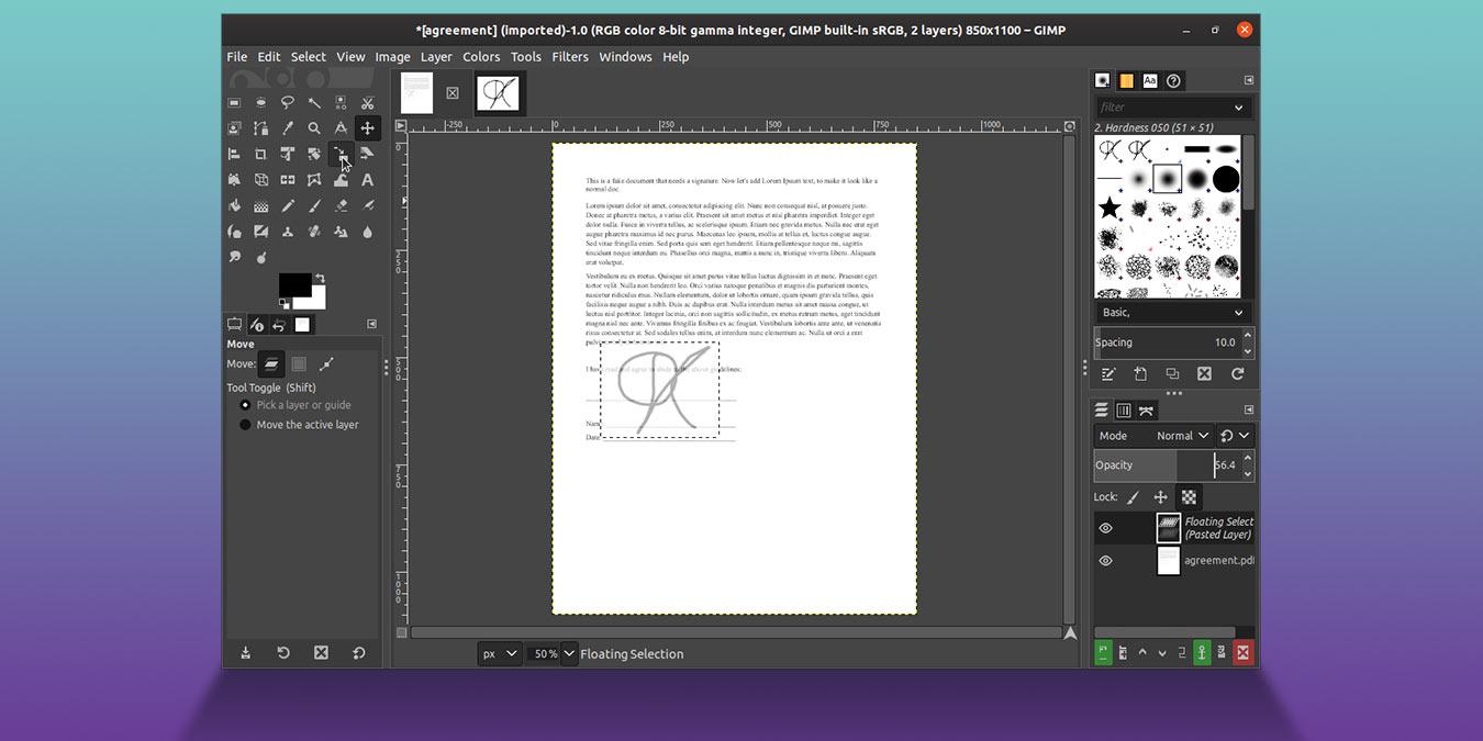 Cómo firmar un documento con GIMP