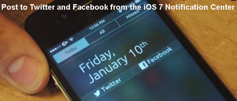 Publique un Tweet o un estado de Facebook en el Centro de notificaciones en iOS 7