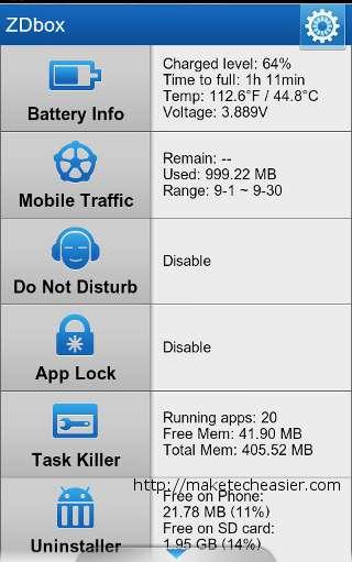 ZDbox es una poderosa caja de herramientas que mantiene su teléfono Android en buen estado